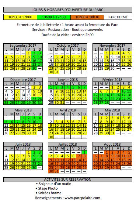 Calendrier sept 2017 à aout 2018